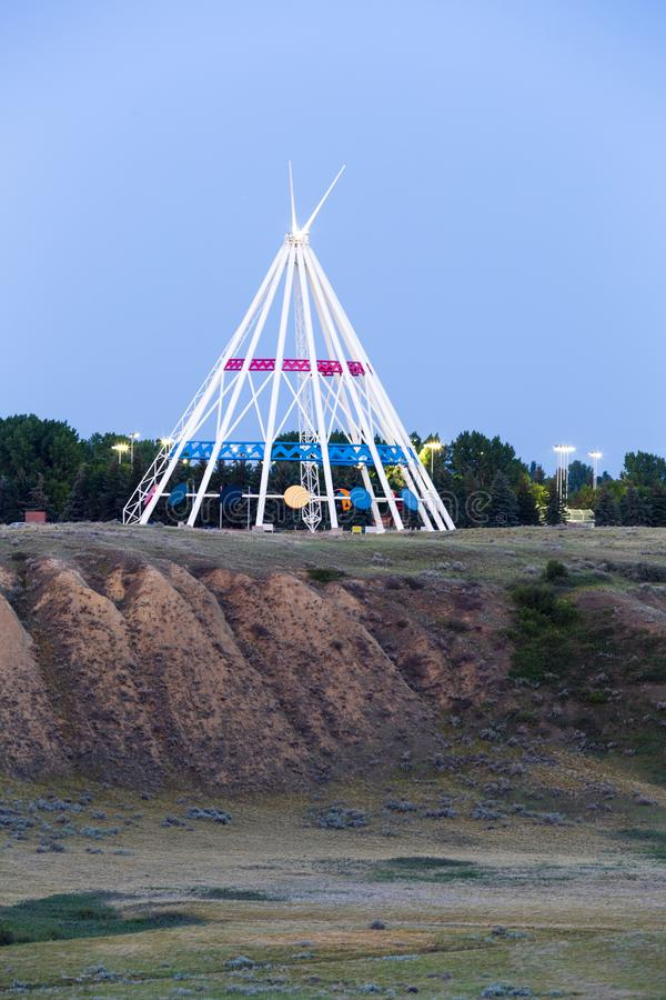 Saamis Tepee Medicine Hat Alberta. Medicine Hat, Alberta, Canada - July 9, 2019: Medicine Hat's most visible landmark is the Saamis Tepee! Originally stock photography
