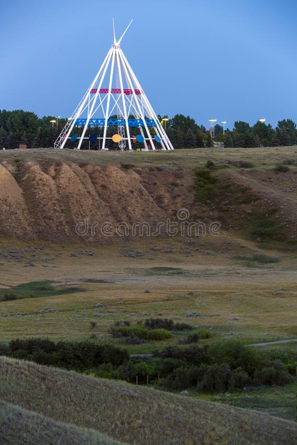 Saamis Tepee Medicine Hat Alberta. Medicine Hat, Alberta, Canada - July 9, 2019: Medicine Hat's most visible landmark is the Saamis Tepee! Originally stock images