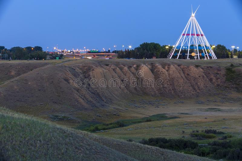 Saamis Tepee Medicine Hat Alberta. Medicine Hat, Alberta, Canada - July 9, 2019: Medicine Hat's most visible landmark is the Saamis Tepee! Originally stock photo