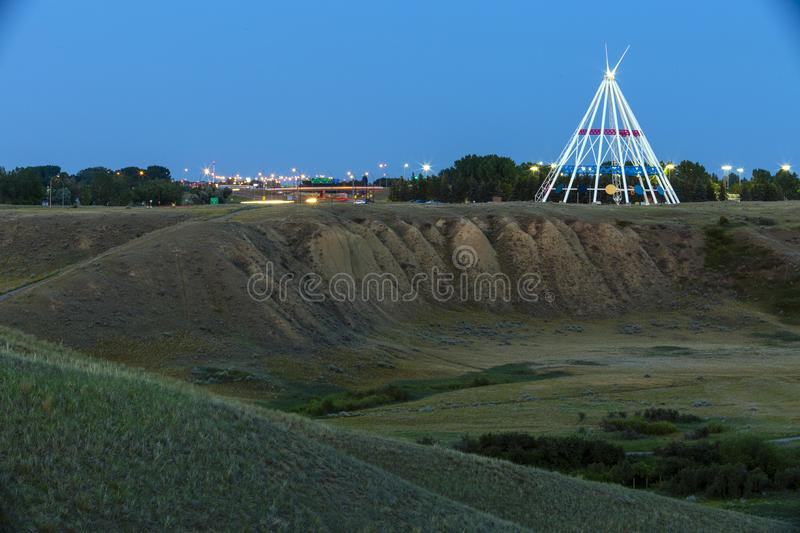Saamis Tepee Medicine Hat Alberta. Medicine Hat, Alberta, Canada - July 9, 2019: Medicine Hat's most visible landmark is the Saamis Tepee! Originally royalty free stock images