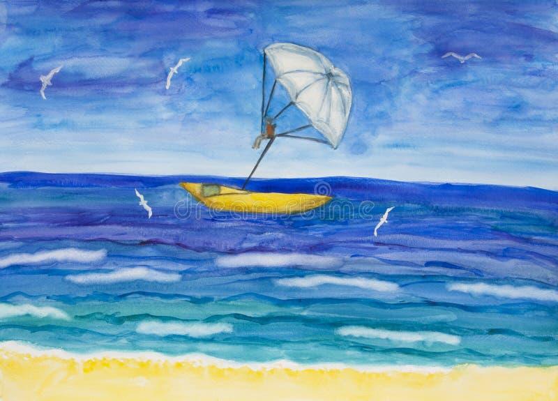 Saap met witte parachute en boot, waterverfschilderij royalty-vrije stock foto