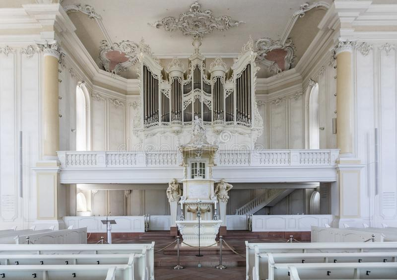 Inside the  Ludwigskirche Church in Saarbruecken, Germany. SAARBRUECKEN, GERMANY - AUG 5, 2018: inside the  Ludwigskirche Church in Saarbruecken, Germany. The royalty free stock photos