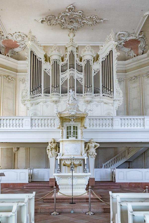 Inside the  Ludwigskirche Church in Saarbruecken, Germany. SAARBRUECKEN, GERMANY - AUG 5, 2018: inside the  Ludwigskirche Church in Saarbruecken, Germany. The royalty free stock images