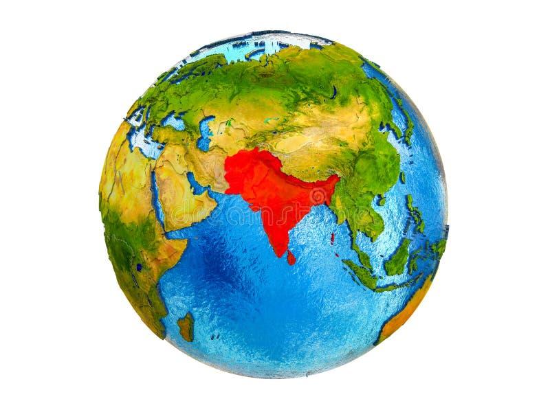 SAARC 3D被隔绝的地球上的会员国地图  向量例证