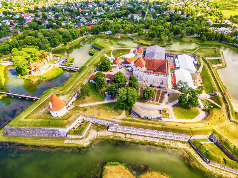Saarema Island, Estonia: aerial top view of Kuressaare Episcopal Castle. In the summer stock images