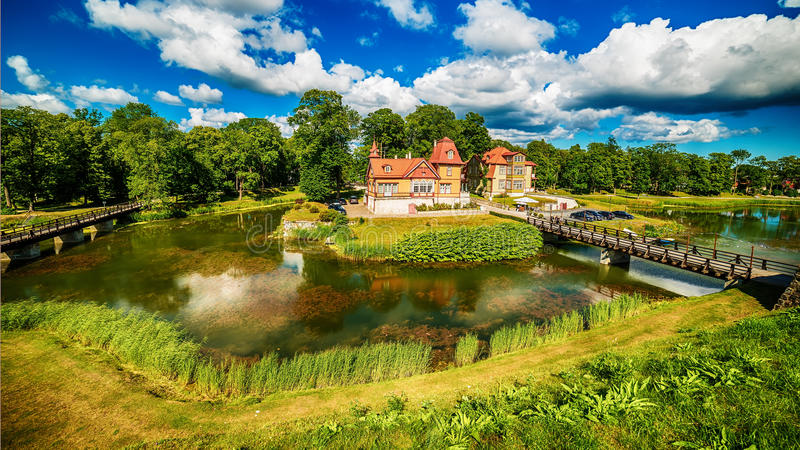 Saarema Island, Estonia: Kuressaare Episcopal Castle. In the summer royalty free stock photo