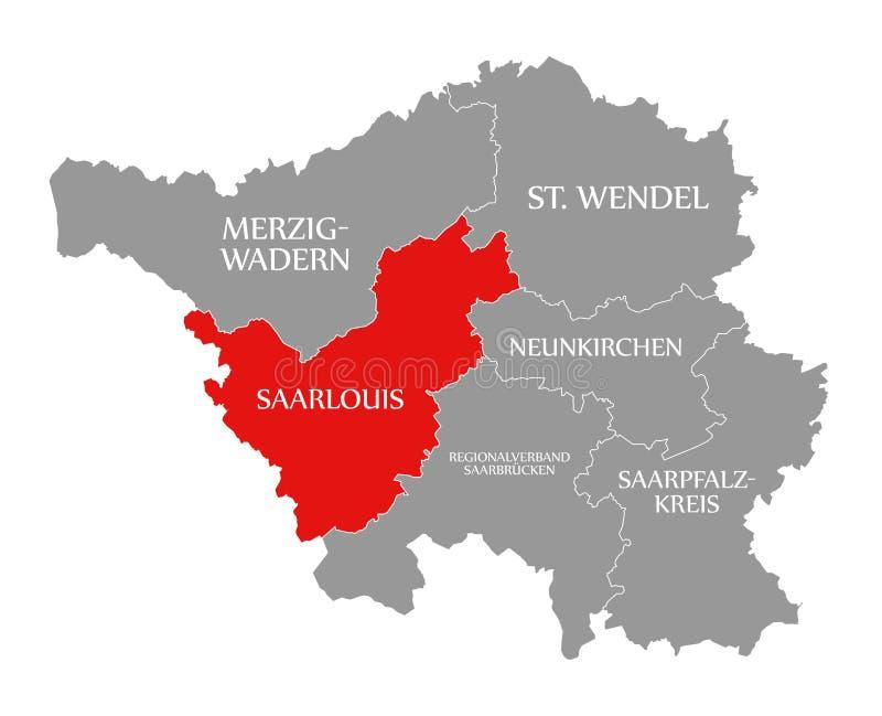 Saarlouis czerwień podkreślająca w mapie Saarland Niemcy DE ilustracji