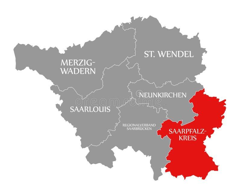 Saarpfalz Kreis czerwień podkreślająca w mapie Saarland Niemcy DE ilustracji