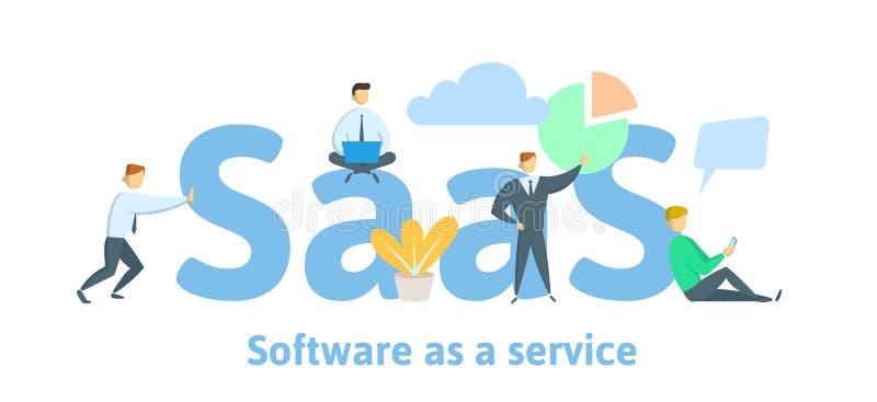 SaaS, программное обеспечение как обслуживание Заволоките программное обеспечение на компьютерах, мобильных устройствах, кодах, с иллюстрация вектора