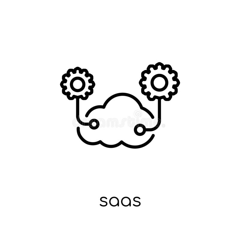 saas icon. Trendy modern flat linear vector saas icon on white b vector illustration