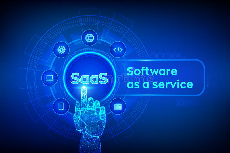 saas Programvara som en service Internet- och teknologibegrepp p? den faktiska sk?rmen isolerad white f?r begreppsutveckling SAAS royaltyfri illustrationer