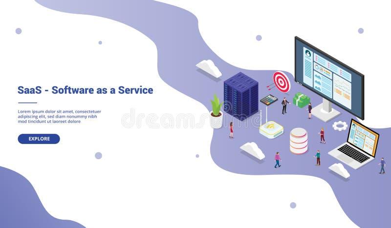 Saas programvara som en serviceaffärsidé med stort ord med lagfolk för websitemallen som landar homepage-websiten med stock illustrationer