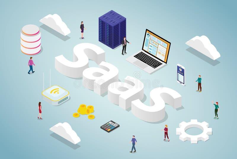 Saas-Software als Dienstleistungsunternehmenkonzept mit großer Wort- und Serverdatenbankcomputer Appwebsite mit isometrischer mod stock abbildung