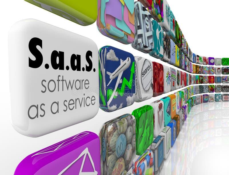 SaaS-Software als Service-Programm-APP deckt Lizenz-Anwendung mit Ziegeln vektor abbildung