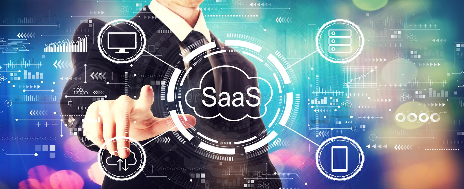 SaaS - software as a service concept with a businessman stock photo