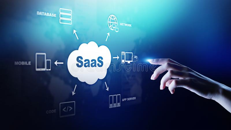 SaaS - Software as a service, on demand. Internet and technology concept on virtual screen. SaaS - Software as a service, on demand. Internet and technology royalty free stock photo
