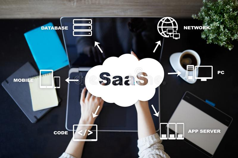 SaaS, Software as a Service. Internet and networking concept. SaaS, Software as a Service. Internet and networking concept royalty free stock image