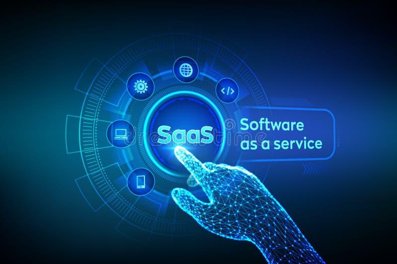 saas Software como servicio Concepto de Internet y de la tecnolog?a en la pantalla virtual Concepto del desarrollo SAAS que compu libre illustration