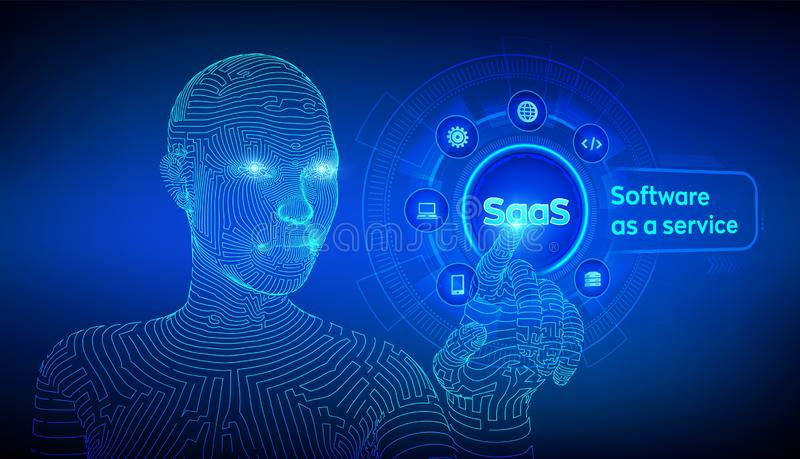 saas Software como servicio Concepto de Internet y de la tecnolog?a en la pantalla virtual SAAS que computa industria de IOT Cybo libre illustration