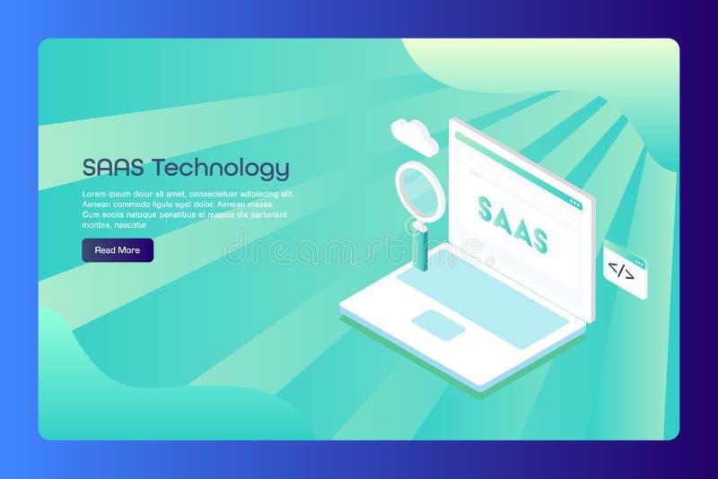 Saas, software como servicio, nube que computa, codificación, programando, búsqueda, plantilla conceptual de la bandera de la web ilustración del vector