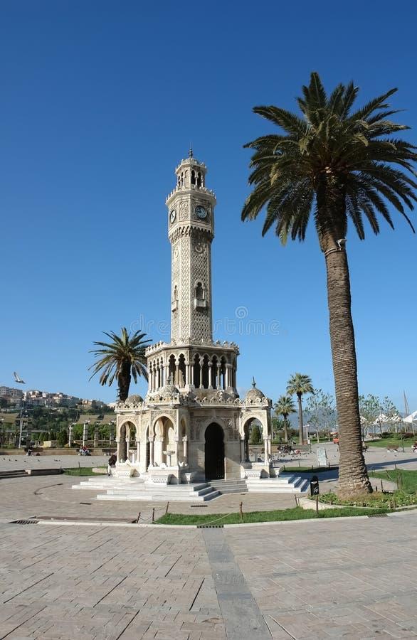 Saat Kulesi Zegarowy wierza w środkowym Konak kwadracie w Izmir ja fotografia stock