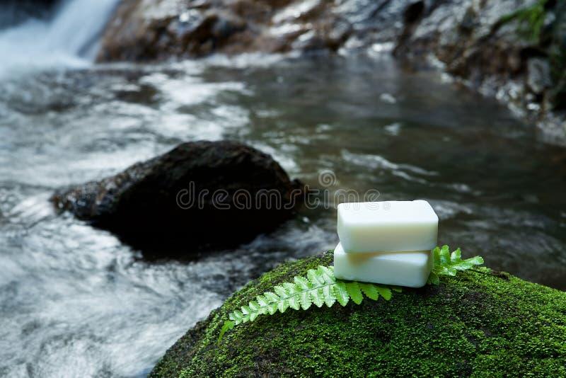 Sabão caseiro dos cuidados com a pele alternativos na pedra, folha verde com tr imagens de stock
