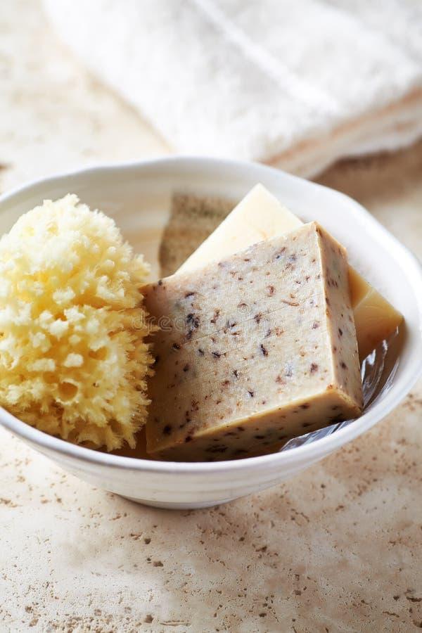 Sabão do chá verde e esponja natural do banho em um prato cerâmico fotos de stock royalty free