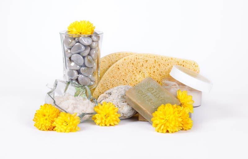 Sabão e esponjas do petróleo verde-oliva para termas fotos de stock