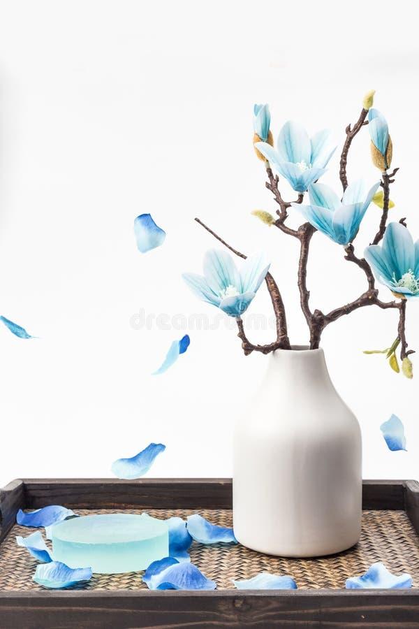Sabão e magnólia azul imagem de stock royalty free