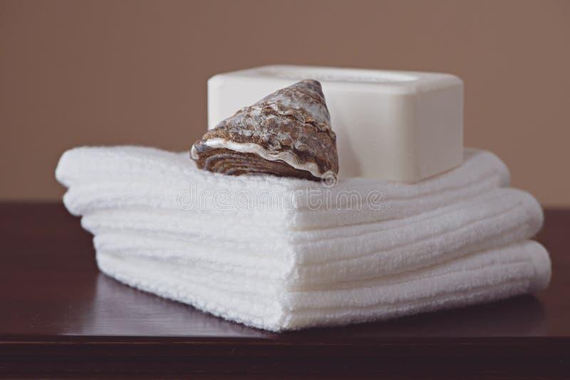 Sabão e toalhas de rosto imagens de stock royalty free