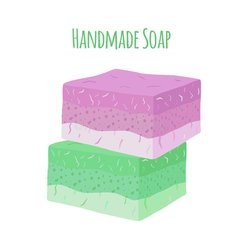 Sabão feito a mão do aroma Produto de higiene natural para a saúde Estilo liso ilustração do vetor