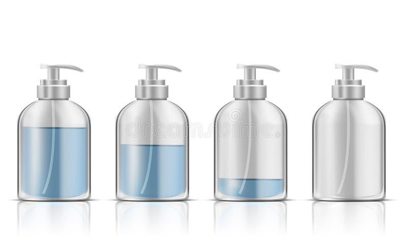 Sabão líquido azul na garrafa plástica da bomba ilustração stock