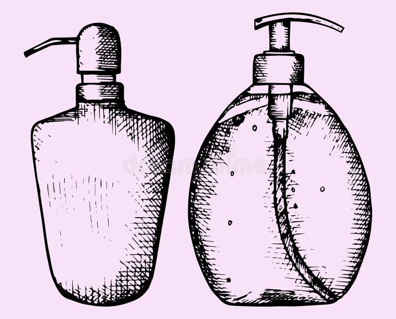 Sabão líquido e flores ilustração do vetor