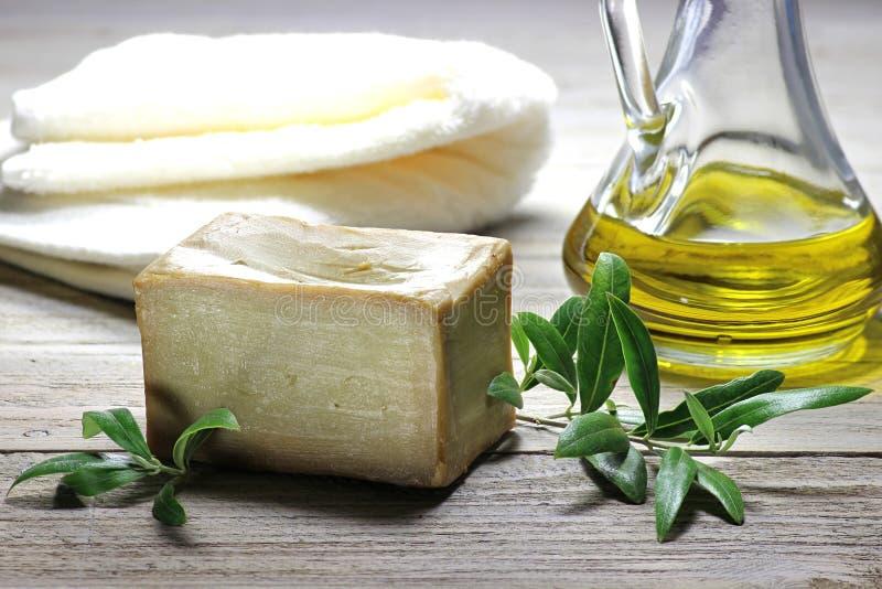 Sabão verde-oliva imagem de stock