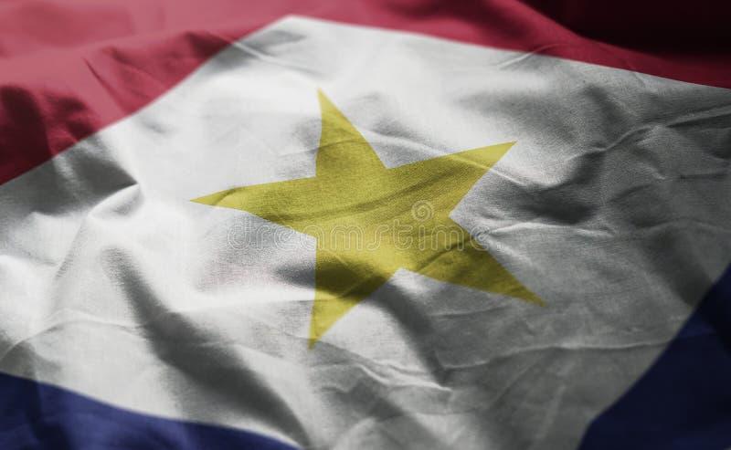 Saba Flag Rumpled Close Up fotos de archivo libres de regalías