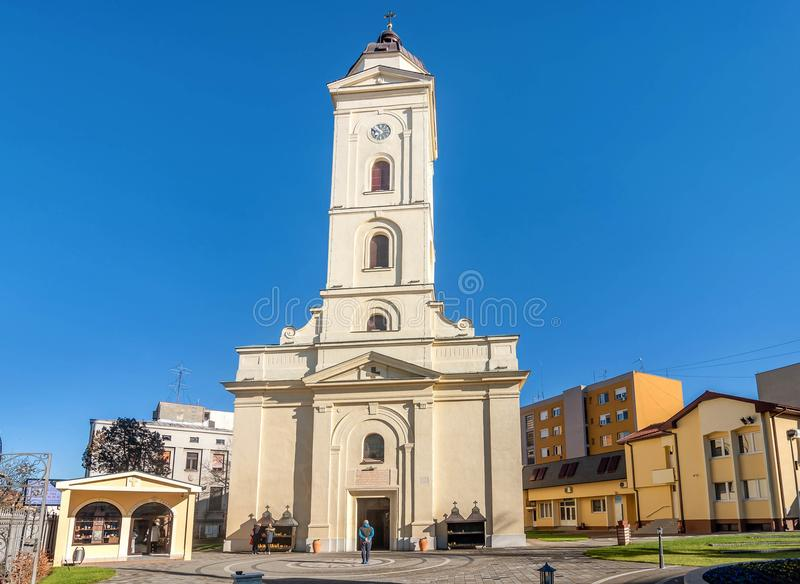 Saint Peter and Paul`s church in Sabac city, Serbia. Sabac, Serbia- December 24, 2017: Saint Peter and Paul`s church in Sabac city, Serbia royalty free stock photo