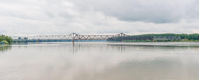 The Old Bridge Serbian: Stari most is a famous bridge over the Sava River in Sabac. Sabac, Serbia - June 01, 2019: The Old Bridge Serbian: Stari most is a stock photo