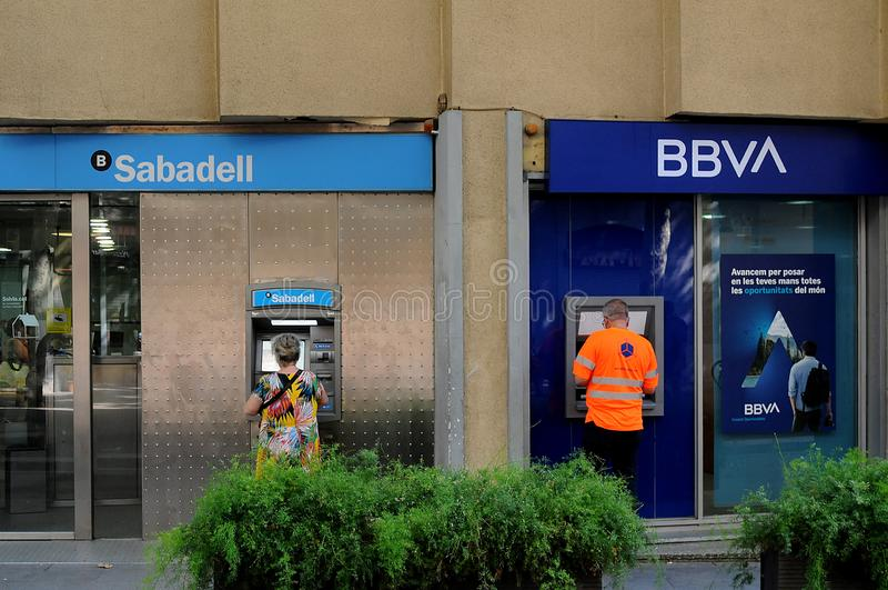 SABADELL BANK AND bbva BANK IN bARCELONA spain. Barcelona/catalonia/ Spain/ 24July 2019/ Two Banks Sabadell bank and BBVA bank in Barcelona Spain. Photo..Francis royalty free stock photos