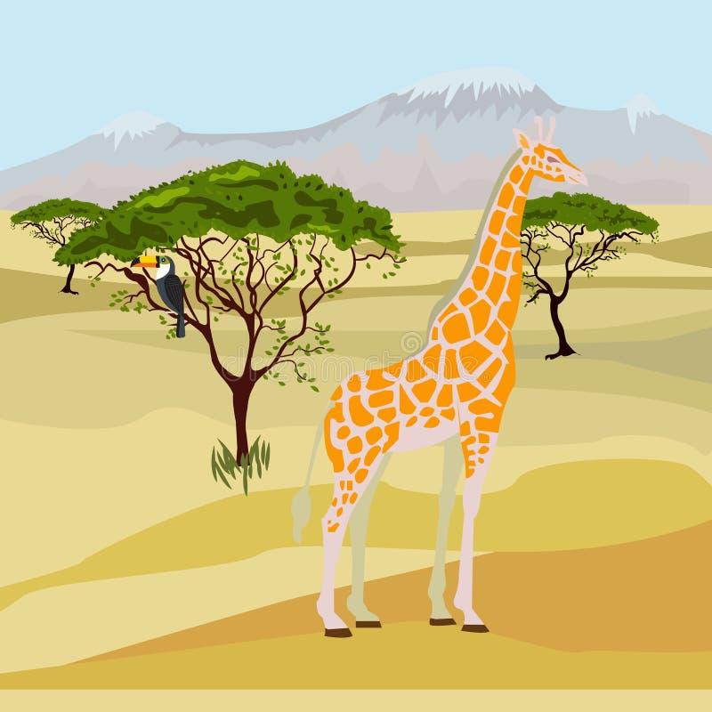 Sabana africana - paisaje del día Ilustración del vector ilustración del vector