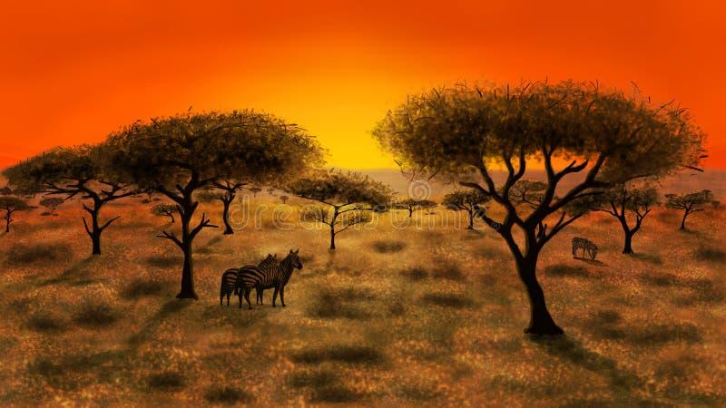 Sabana en la puesta del sol libre illustration