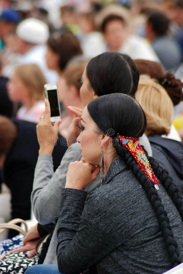 Sabantui celebration in Moscow. Two women performers stock images