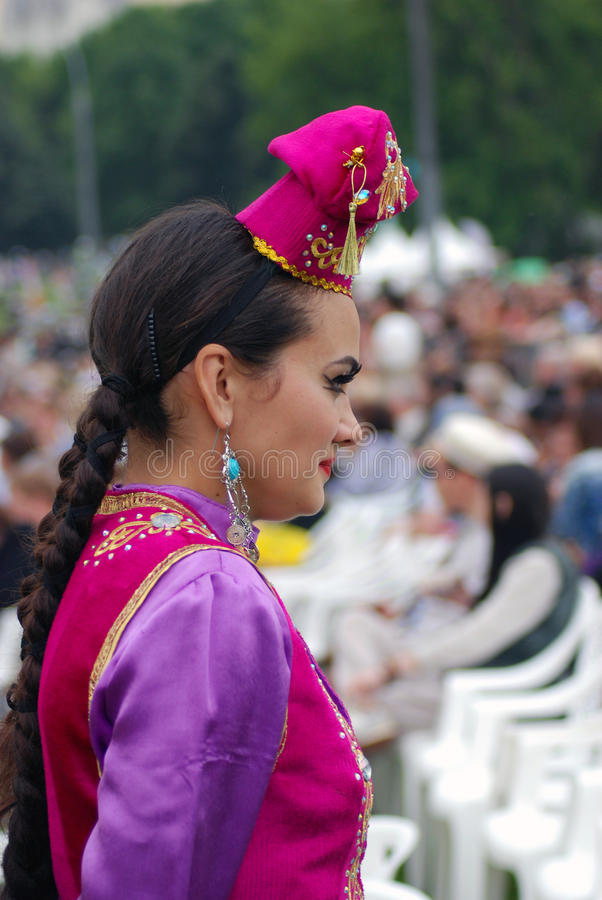 Sabantui celebration in Moscow. Woman performer portrait royalty free stock image