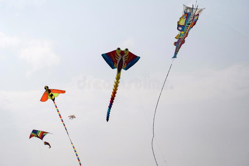SABARMATI RIVERFRONT, AHMEDABAD, GUJARAT, INDIA, 13 January 2018. Various kites competing at the International Kite Festival. Various kites competing at the royalty free stock photos