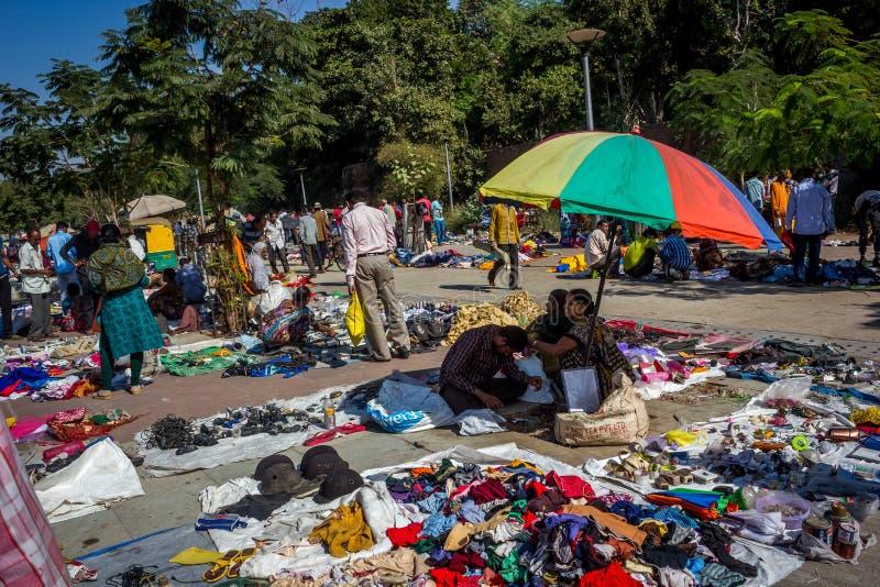 Sabarmativlooienmarkt, Ahmedabad, India stock afbeelding