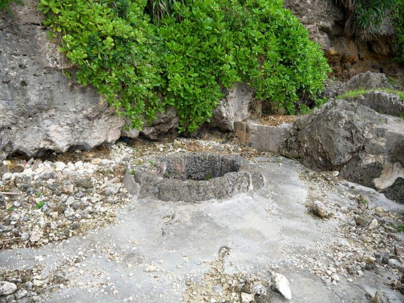 Sabautsuga jedyny dobrze przy wschodem Irabu wyspa Ludzie używać iść puszek 124 kamiennego kroka fotografia stock