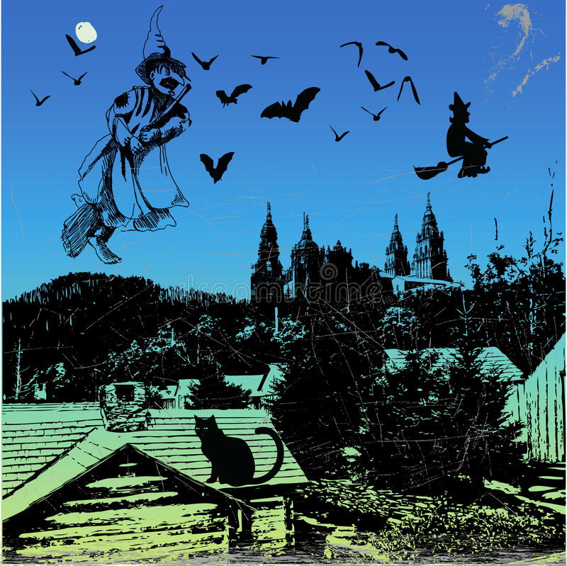 Sabbath. Jpeg and vector picture, witches flying on the sky stock illustration