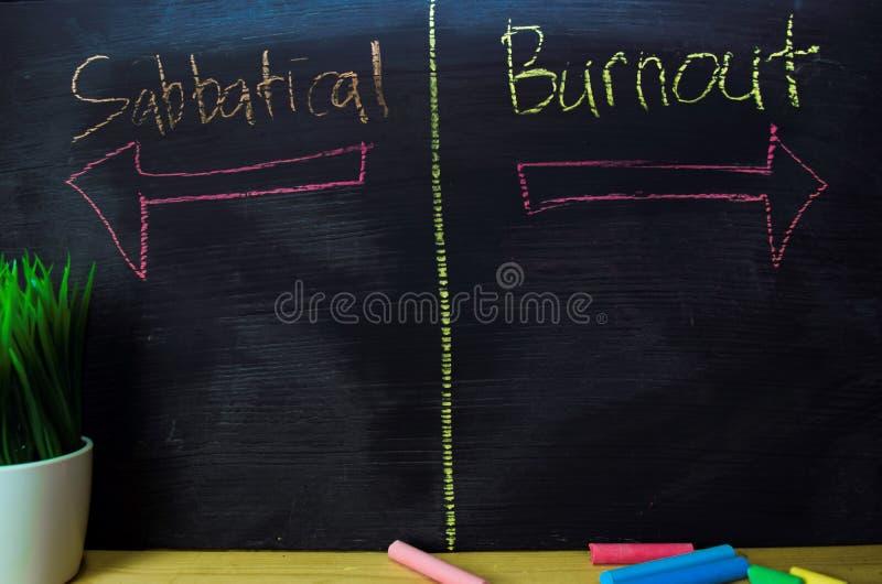Sabbatique ou burn-out écrit avec le concept de craie de couleur sur le tableau noir photos stock