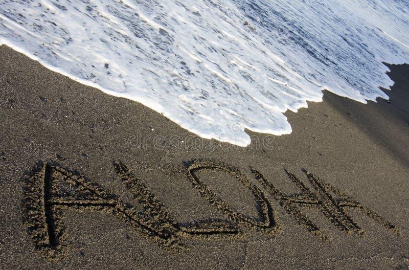 Sabbia nera Aloha fotografie stock libere da diritti