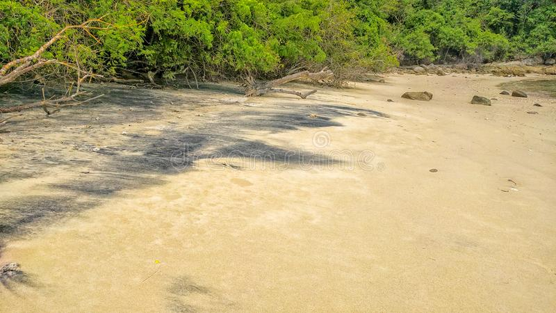 Sabbia nera su una spiaggia Parco nazionale di Huatulco, Oaxaca Viaggio nel Messico fotografia stock libera da diritti