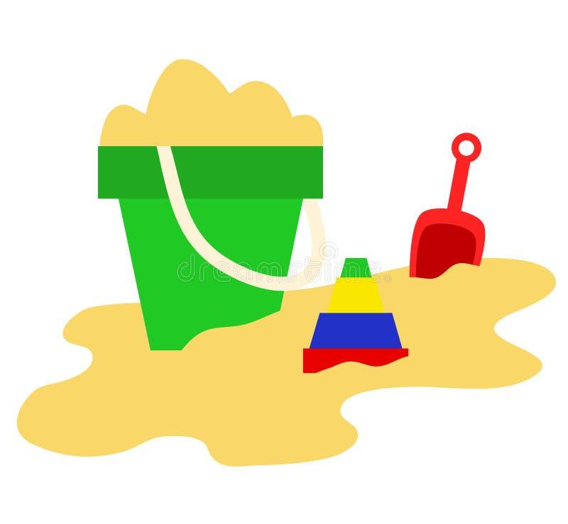 Sabbia, secchio, pala e giocattoli, icone del gioco del gioco di estate, vettore IL illustrazione vettoriale